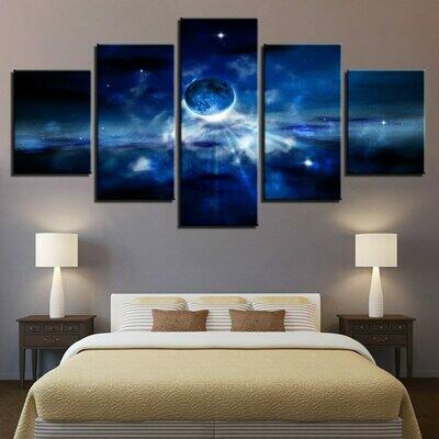 Blue Moon Starry Sky - 5 Panel Canvas Print Wall Art Set