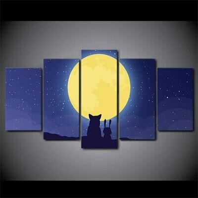 Fox Rabbit Moon - 5 Panel Canvas Print Wall Art Set