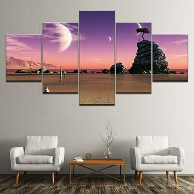 Half Moon Bend Sunset Sea - 5 Panel Canvas Print Wall Art Set