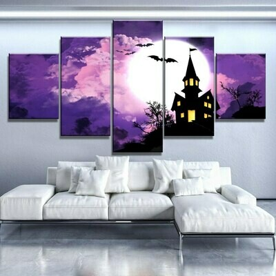 Halloween Castle Bat Moon - 5 Panel Canvas Print Wall Art Set