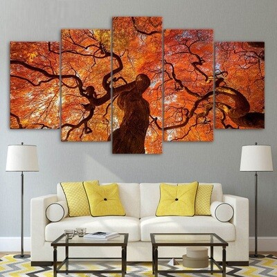 Tree Canopy Red Leaves - 5 Panel Canvas Print Wall Art Set