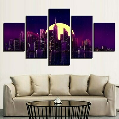 Building Moon City Night - 5 Panel Canvas Print Wall Art Set