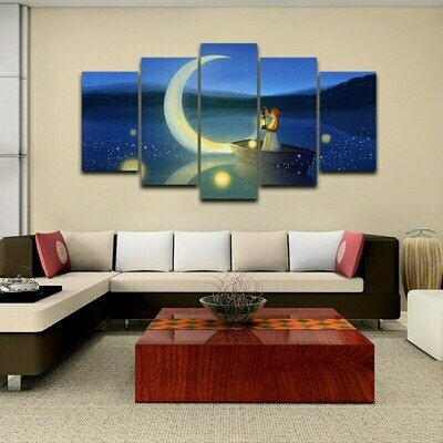 Cartoon Moon Boat Girl - 5 Panel Canvas Print Wall Art Set
