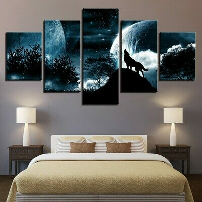 Full Moon Night Forest Wolf - 5 Panel Canvas Print Wall Art Set