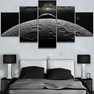 Large Moon Earth Sky Space - 5 Panel Canvas Print Wall Art Set