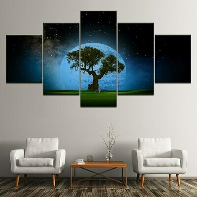 Lucky Tree With Moon Star Sky Landscape - 5 Panel Canvas Print Wall Art Set