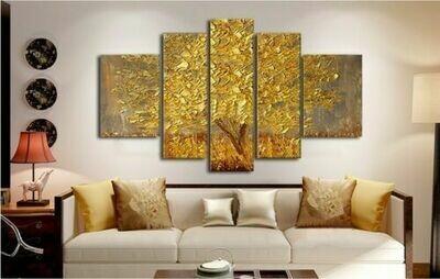 Tree Oil Painting - 5 Panel Canvas Print Wall Art Set