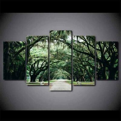 Tree Road - 5 Panel Canvas Print Wall Art Set