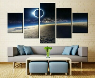 Eclipses Night Star Dust Moon Surface - 5 Panel Canvas Print Wall Art Set