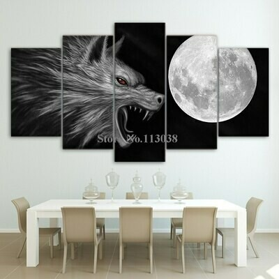Fiercely Wolf Moon - 5 Panel Canvas Print Wall Art Set