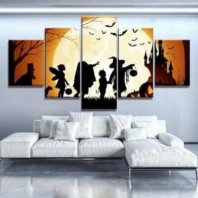 Halloween Moon - 5 Panel Canvas Print Wall Art Set