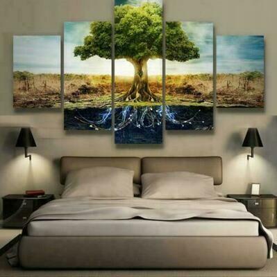 Tree Of Life Root - 5 Panel Canvas Print Wall Art Set