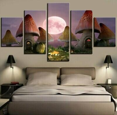 Fairy Mushroom and Moon At Night - 5 Panel Canvas Print Wall Art Set