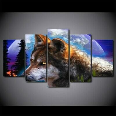Fantasy Wolf Moon Night - 5 Panel Canvas Print Wall Art Set