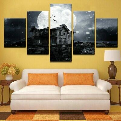 Halloween Haunted House Moon - 5 Panel Canvas Print Wall Art Set