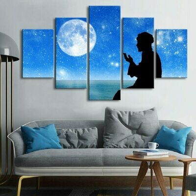 Islam Bless to The Moon - 5 Panel Canvas Print Wall Art Set