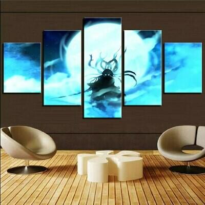 Light Blue Moon - 5 Panel Canvas Print Wall Art Set