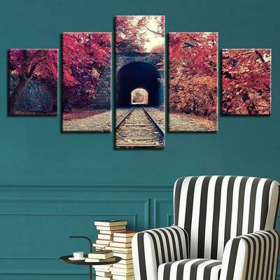 Train Tracks And Autumn Red Tree - 5 Panel Canvas Print Wall Art Set