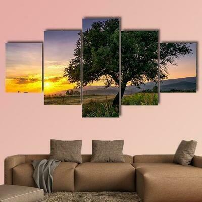 Tree By A Corn Field At Sunset - 5 Panel Canvas Print Wall Art Set