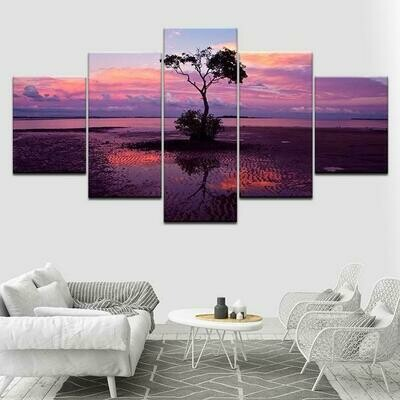 Tree Sunset Landscape Purple - 5 Panel Canvas Print Wall Art Set