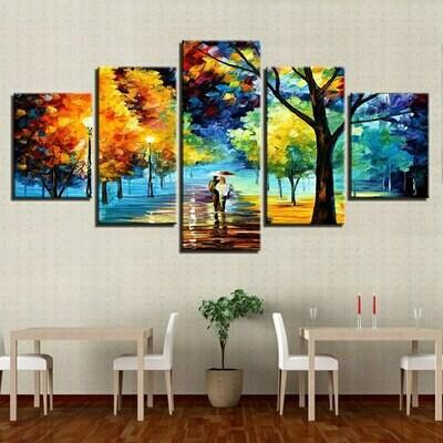 Tree In The Rain Scenery - 5 Panel Canvas Print Wall Art Set