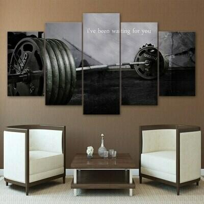 Barbell Gym - 5 Panel Canvas Print Wall Art Set