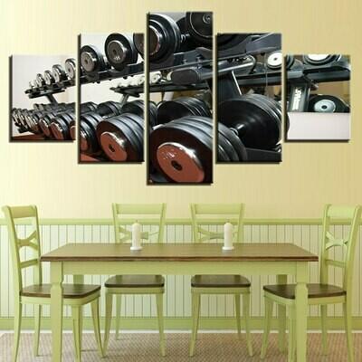 Dumbbells Equipment - 5 Panel Canvas Print Wall Art Set
