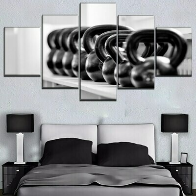 Weight Lifting Tool - 5 Panel Canvas Print Wall Art Set