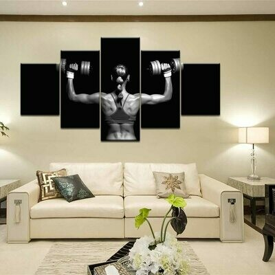 Weightlifting Woman - 5 Panel Canvas Print Wall Art Set
