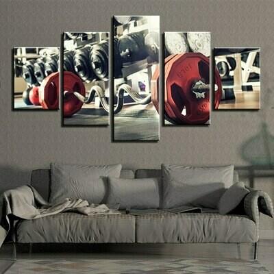 Barbell - 5 Panel Canvas Print Wall Art Set