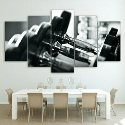 Dumbbells Hd - 5 Panel Canvas Print Wall Art Set
