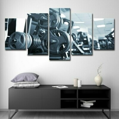 Fitness Barbell - 5 Panel Canvas Print Wall Art Set
