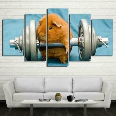 Guinea Pig Bodybuilding - 5 Panel Canvas Print Wall Art Set