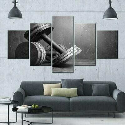 Modular Dumbbells - 5 Panel Canvas Print Wall Art Set