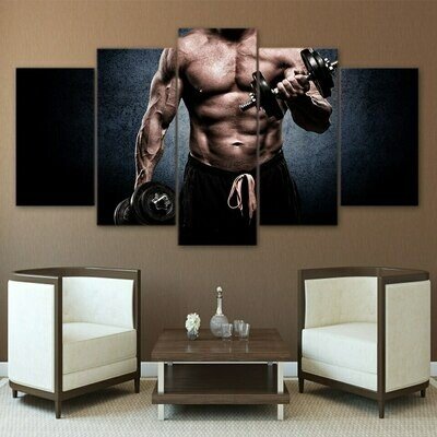 Muscle Barbell - 5 Panel Canvas Print Wall Art Set
