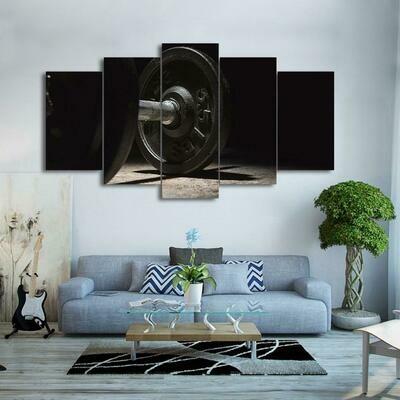 Black Dumbell - 5 Panel Canvas Print Wall Art Set