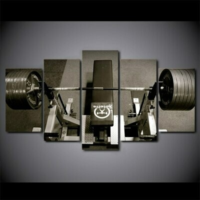 Bodybuilding Equipment - 5 Panel Canvas Print Wall Art Set