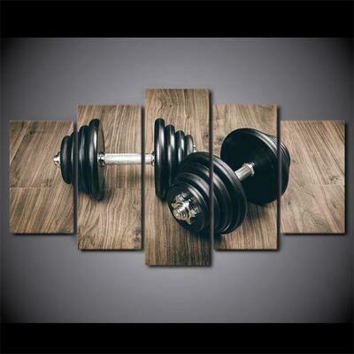 Bodybuilding Tools - 5 Panel Canvas Print Wall Art Set