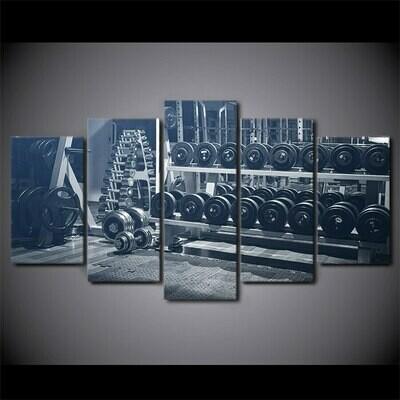 Gym Dumbbells - 5 Panel Canvas Print Wall Art Set