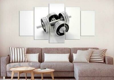 Large Barbell Gym - 5 Panel Canvas Print Wall Art Set