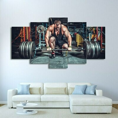 Weightlifting Man - 5 Panel Canvas Print Wall Art Set