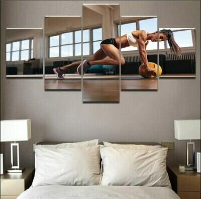 Woman Workout - 5 Panel Canvas Print Wall Art Set