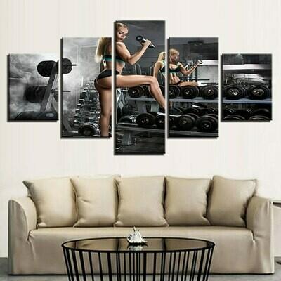 Dumbbells - 5 Panel Canvas Print Wall Art Set