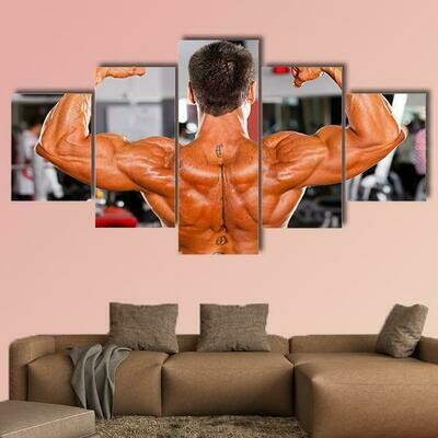 Male Body Builder - 5 Panel Canvas Print Wall Art Set
