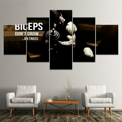 Weightlifting Sports - 5 Panel Canvas Print Wall Art Set
