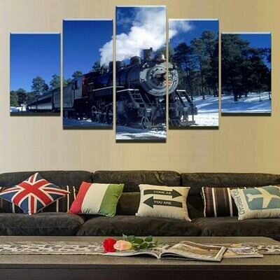 The Classic Old Train - 5 Panel Canvas Print Wall Art Set