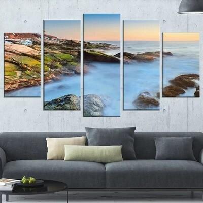 Coast Lighthouse Ocean - 5 Panel Canvas Print Wall Art Set