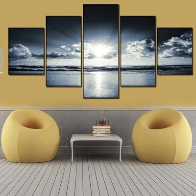 Horizon Landscape Ocean Shoreline - 5 Panel Canvas Print Wall Art Set