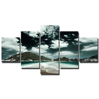 Beach Day Ocean - 5 Panel Canvas Print Wall Art Set