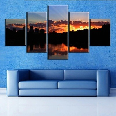 Landscape Sunset Oil Ocean Scenery - 5 Panel Canvas Print Wall Art Set